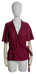 Marc by Marc Jacobs Silk Short Sleeve Wrap Woven Top Red