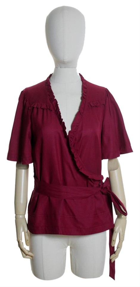 99d1df0cf5839f Marc by Marc Jacobs Red Silk Ruffle Blouse Size 6 (S) - Tradesy