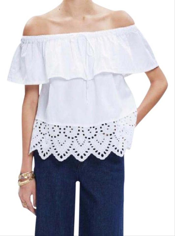 83bccd9b97603e Madewell White Eyelet Off The Shoulder Blouse Size 4 (S) - Tradesy