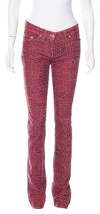 Étoile Isabel Marant Corduroy Jean Jeans Itzel Printed Jean Size 6 Skinny Pants Pink/Coral/Slate