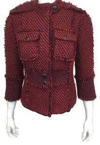 Tory Burch Tweed Red and Navy Blazer