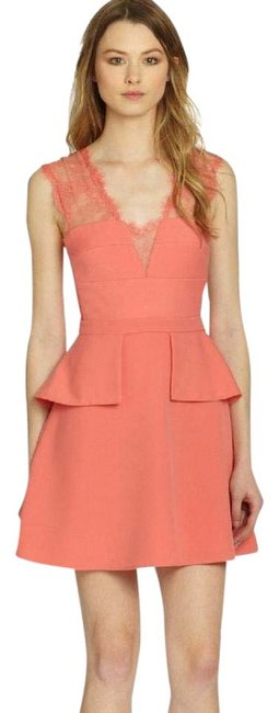 Preload https://img-static.tradesy.com/item/22034760/bcbgmaxazria-pink-coral-leeann-lace-applique-v-neck-short-cocktail-dress-size-4-s-0-2-650-650.jpg