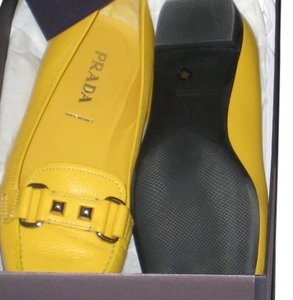 Prada Leather Loafers Yellow Flats