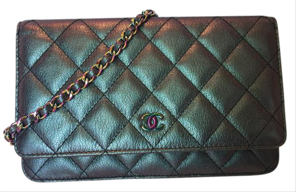 87f3200a4df9 Chanel Wallet on Chain 16c Rainbow Hardware Iridescent Purple Goat ...