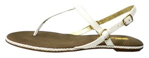 Matiko Leather Leather Lining Leather Upper Leather Sole Flexible Sole Back Strap Gold Trim white Sandals