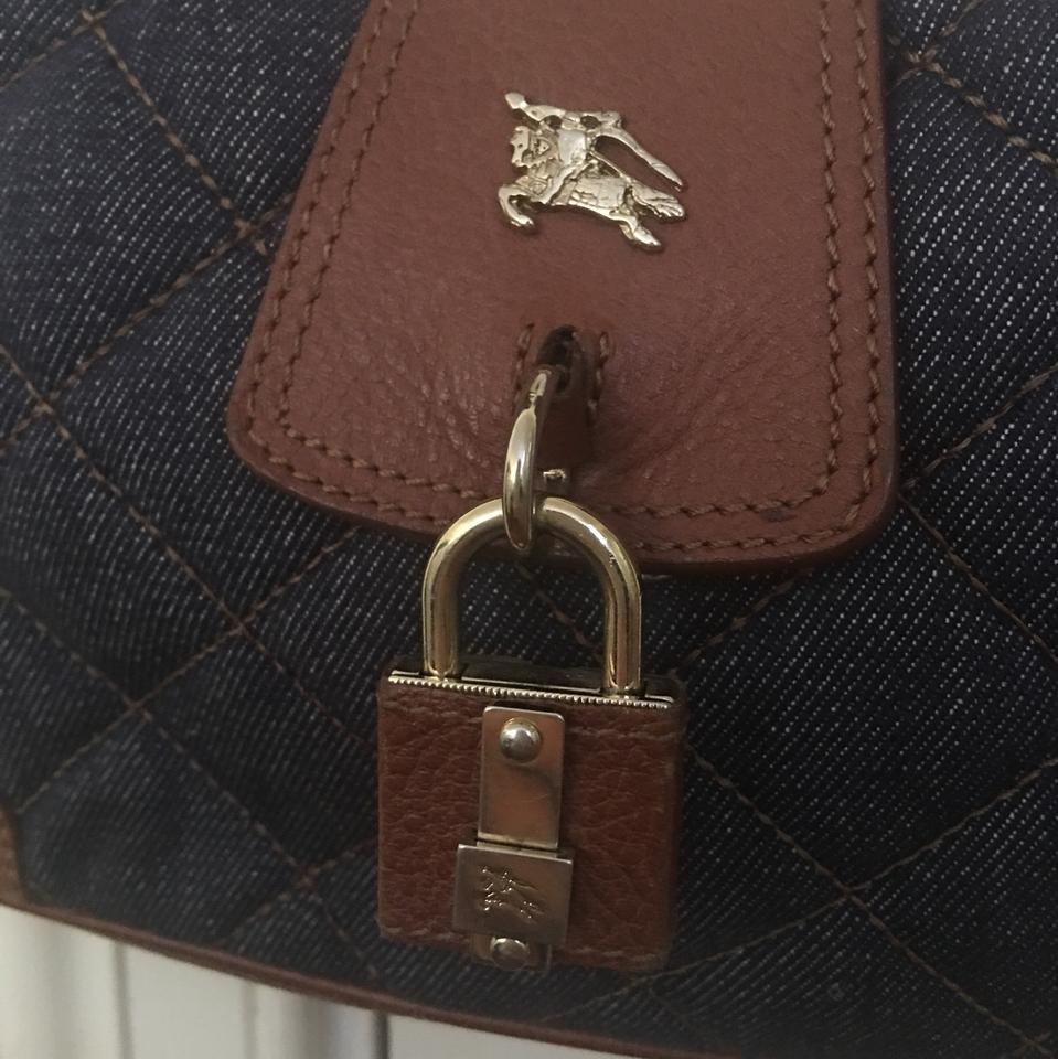 53bc3a171dcd Burberry Hobo Quilted Blue and Brown Leather Denim Shoulder Bag ...