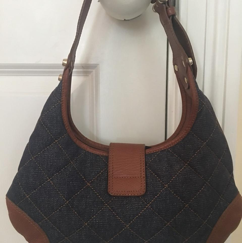 b0cda06d847e Burberry Hobo Quilted Blue and Brown Leather Denim Shoulder Bag - Tradesy