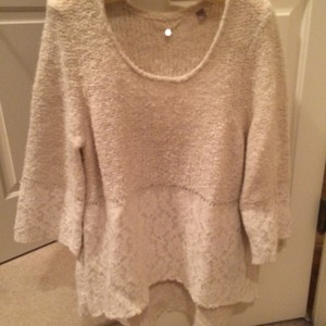 Anthropologie Lace Scalloped Sweater