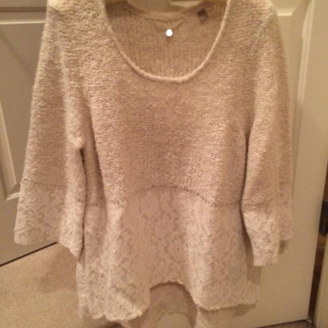Anthropologie Lace Scalloped Shorter In Front Sweater