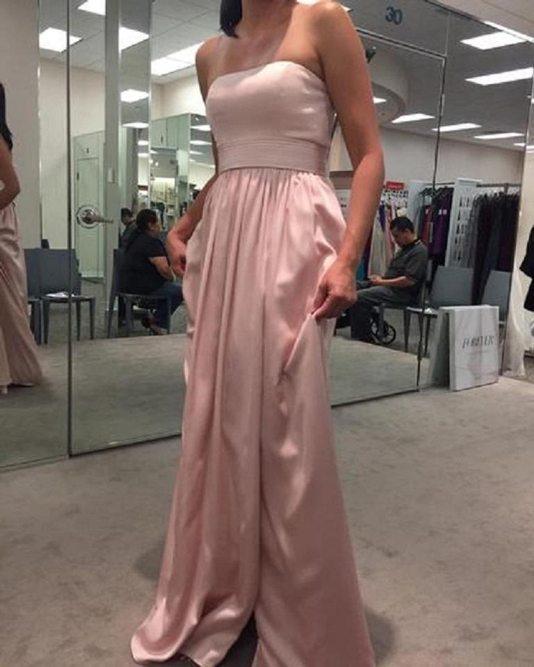 e000b168e642 White by Vera Wang Pale Pink Charmeuse Long Strapless with Belt Formal  Bridesmaid/Mob Dress
