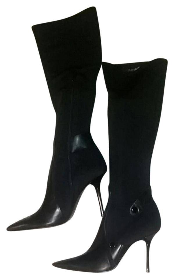 Nine West Black Black Black Stretch Knee High Stiletto Boots/Booties bd6dbc
