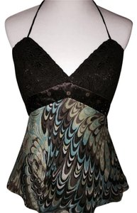 Laundry by Shelli Segal Satin Beaded Silk Night Out Date Night Brown/Turquoise/Lime/Beige Halter Top