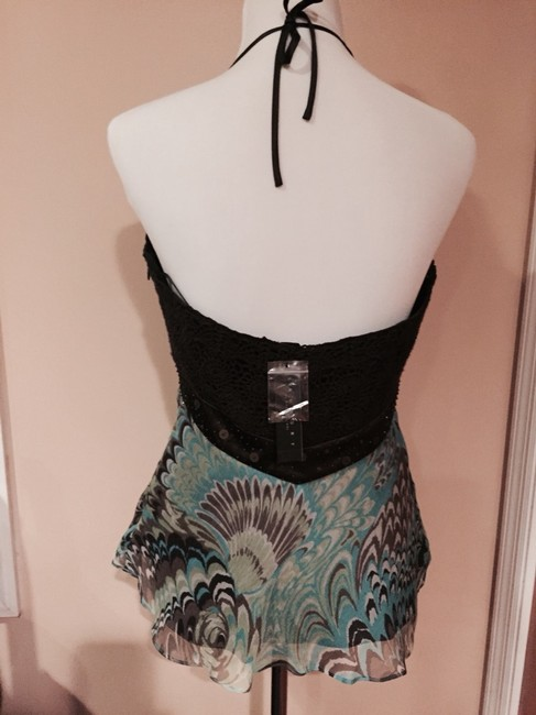 Laundry by Shelli Segal Satin Beaded Silk Night Out Date Night Brown/Turquoise/Lime/Beige Halter Top Image 1