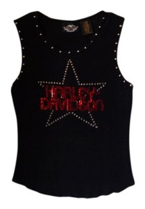 Harley Davidson Top Black beautiful top with red sparkly crystal emblem.