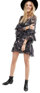 Free People Print Floral Ruffle Keyhole Tiered Dress