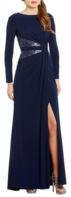 Item - Navy Jersey Midnight Blue Sequin Panel Sleeve Sheath Long Cocktail Dress Size 4 (S)