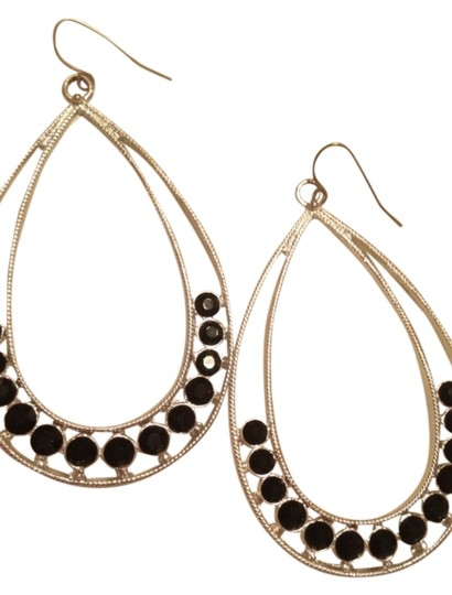 Liz Claiborne Silver Earrings With Black Stones