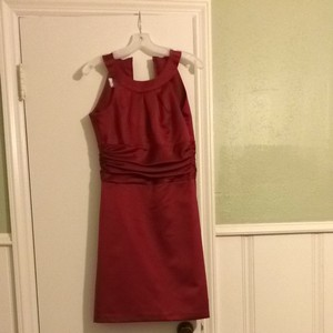 David's Bridal Red Satin Bridesmaid/Mob Dress Size 4 (S)
