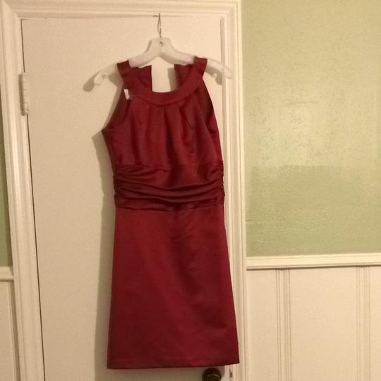 David's Bridal Red Satin Bridesmaid/Mob Dress Size 4 (S) Image 0