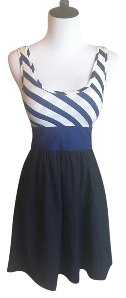 bb8f4659b15 Express Blue and White Fit-and-flare Sundress Short Casual Dress ...