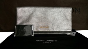 Saint Laurent Ysl Mettalic Silver Clutch
