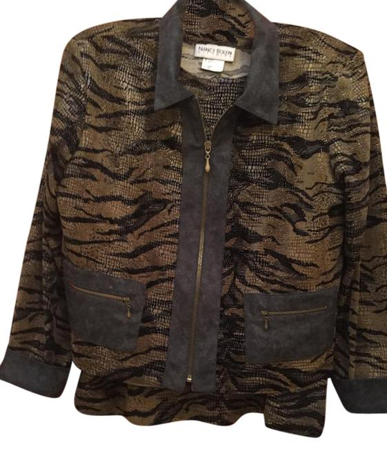 Item - Brown Stretch Blazer and Blouse Combo Jacket Size 14 (L)