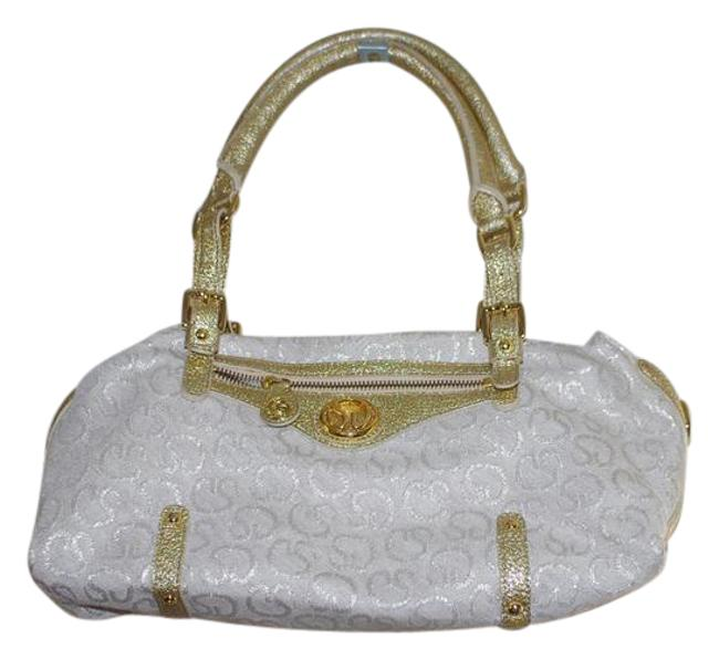 Item - Fabric Trim Handbag Made In Italy Gold Gray Leather Cotton Shoulder Bag