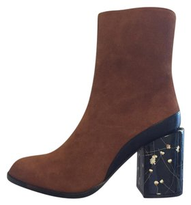 Dear Frances Chunky Heel Suede Flowers Brown Boots