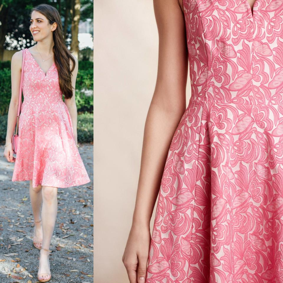 cfdc3bea6a8e5 Anthropologie Pink Maeve Floral Jacquard Claribel Short Cocktail Dress Size  14 (L) - Tradesy