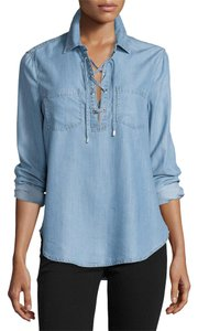 Paige Denim Lace-up Collar Tie Jean Top Blue