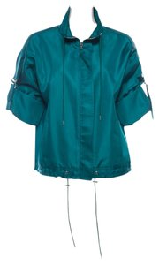 Lela Rose Silk Drawstring Teal Jacket