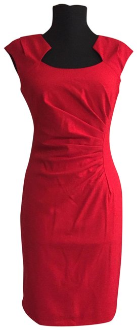 Calvin Klein Red Ruched Stretch Sheath Mid Length Formal Dress Size