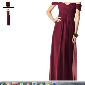 Dessy Burgundy Chiffon 2844 Off The Shoulder Formal Bridesmaid/Mob Dress Size 14 (L)