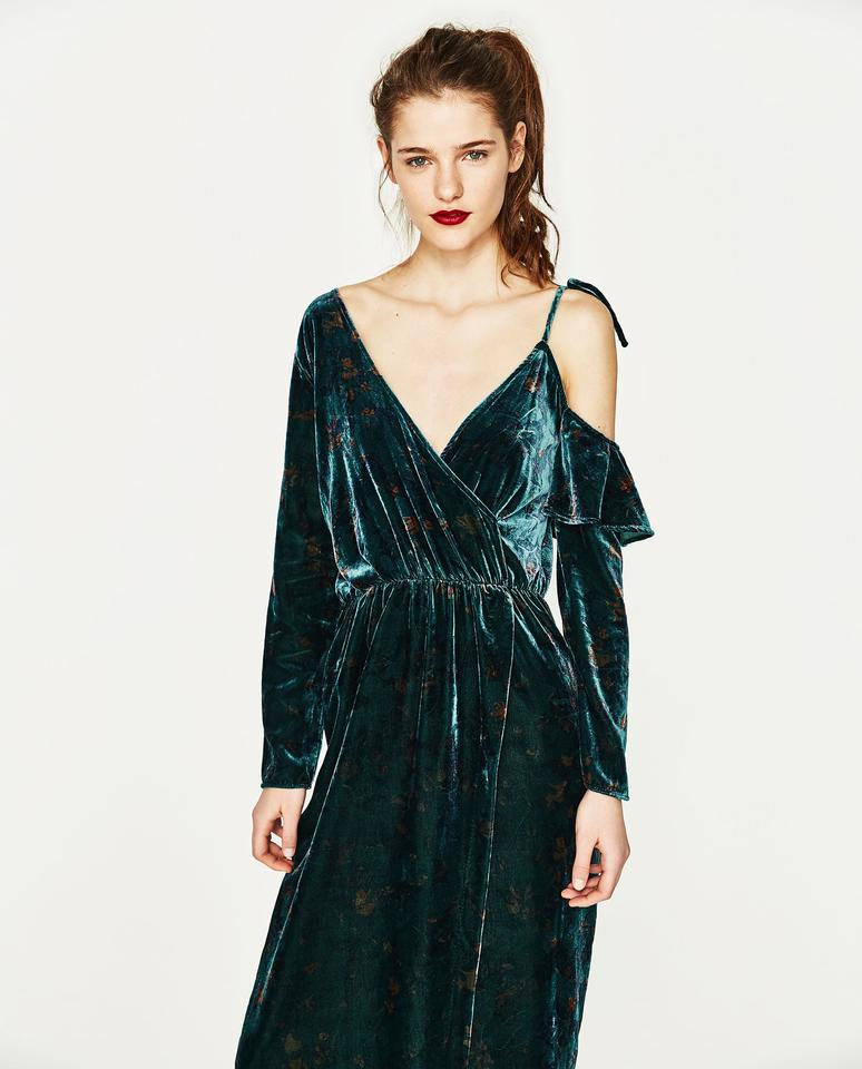 73444151b5 Zara Green Velvet Floral Print Off The Shoulder Maxi Cocktail Dress Size 6  (S) - Tradesy