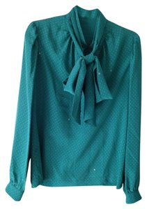 Gucci Silk Tie-neck Monogram Top Green