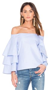 Endless Rose Zara Forever 21 Off The Shoulder Ruffle Top Blue