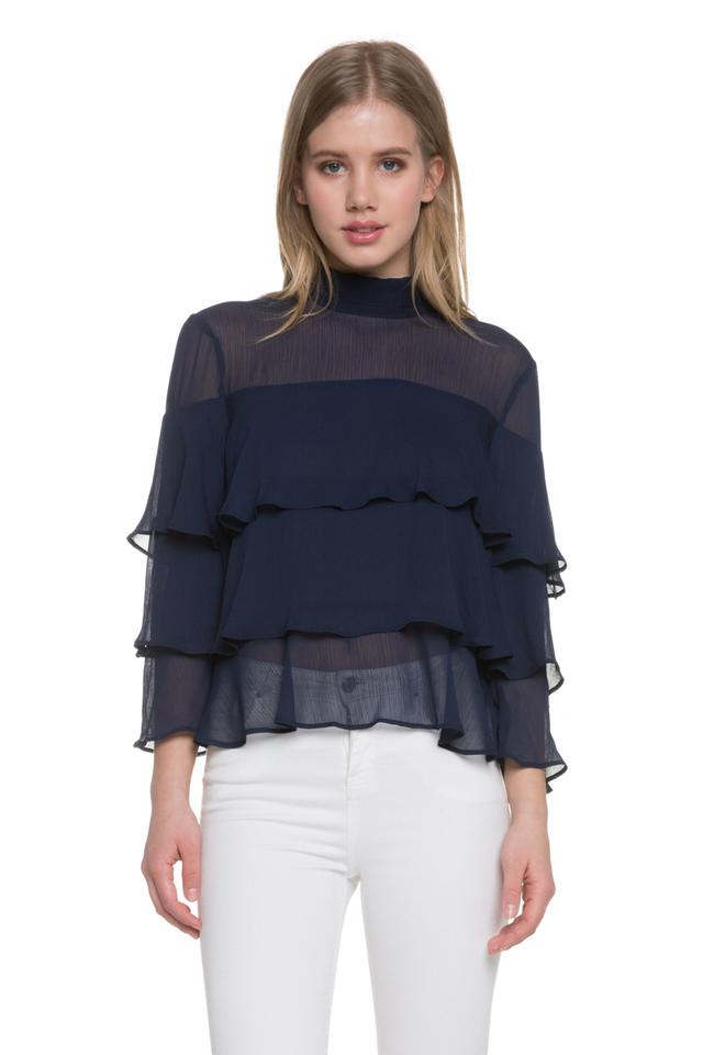 0d2faf38d80b09 Endless Rose Zara Forever 21 Ruffle Chiffon Top Navy Image 0 ...