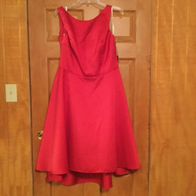 Item - Flamingo Red Dupioni D697 Formal Bridesmaid/Mob Dress Size 14 (L)