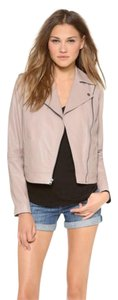 Vince Leather Beige Moto Leather Grain Jacket