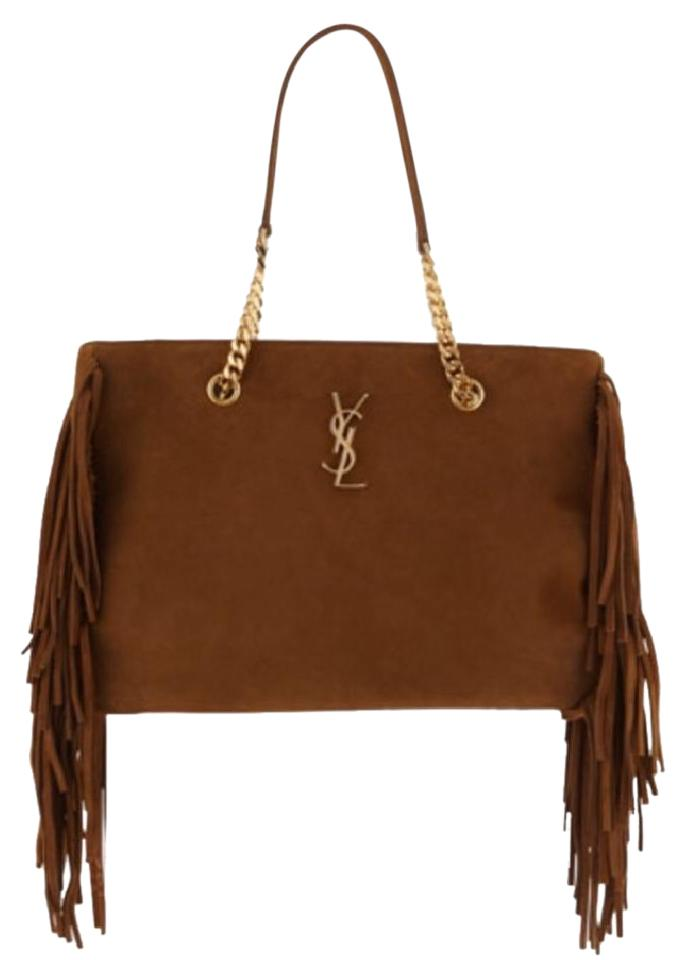 294c96f6ae8 Saint Laurent Shopping Ysl Monogram Saddle Brown Suede Fringe Tote ...