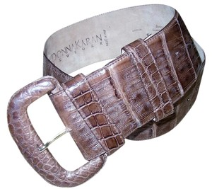Donna Karan Reconditioned Donna Karan Genuine Crocodile Leather Brown Vintage Belt