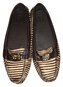 Tory Burch Loafer Driving Gold Hardware Brown Ponyhair Flats