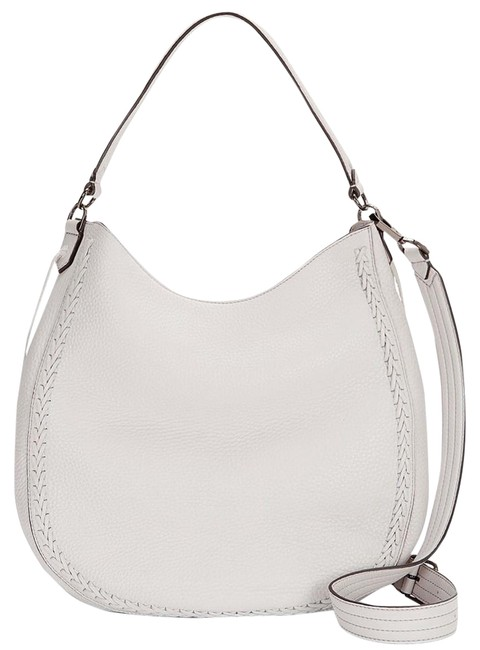 Item - Unlined Convertible Whipstich Optic White Leather Hobo Bag