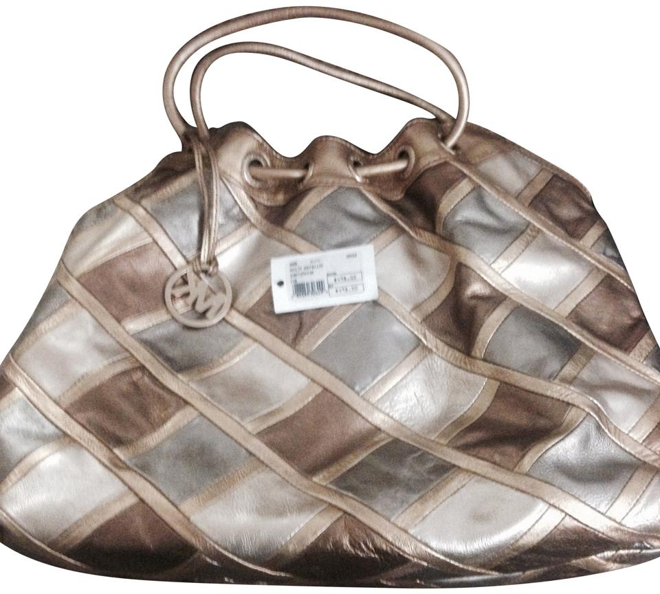 fb986711a0f589 MICHAEL Michael Kors Metallic Michaelbymichaelkors Shoulder Collection  Patchwork Leather Designer Tote in Gold/Bronze/ ...