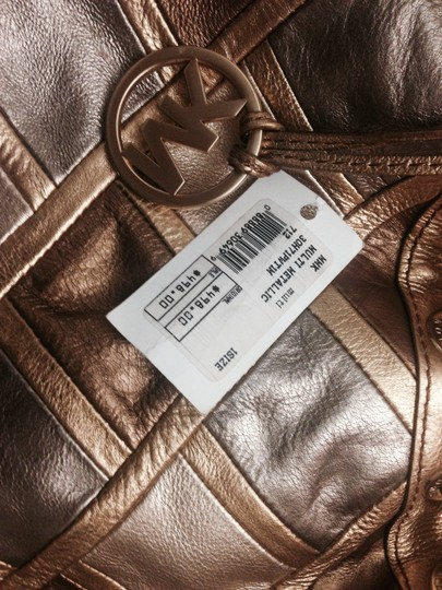 MICHAEL Michael Kors Metallic Michaelbymichaelkors Shoulder Collection Patchwork Leather Designer Tote in Gold/Bronze/Silver/Rose Gold