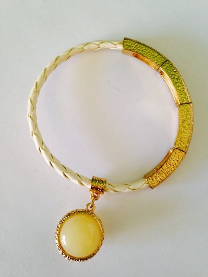 Neiman Marcus Agate (16mm) Braided Leather & Gold-Tone Stretch Bracelet