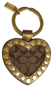 Coach Coach Key Chain Signature C Heart with Bronze grommets! NWT
