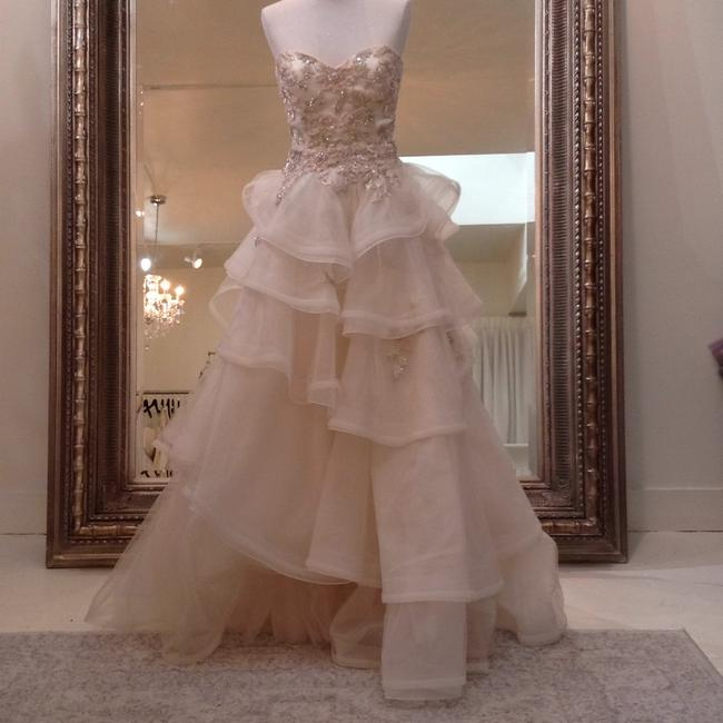Item - Champagne/Blush Beaded Lace Organza Tulle Irene Traditional Wedding Dress Size 4 (S)