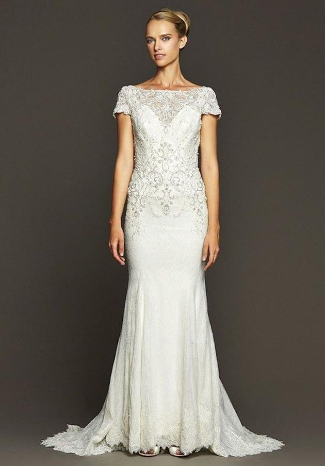 Badgley Mischka Dark Ivory Lace Lombard Vintage Wedding Dress Size 6 S