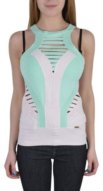 Item - Green/Pink Multi-color Knitted Sleeveless Women's Tank Top/Cami Size 4 (S)